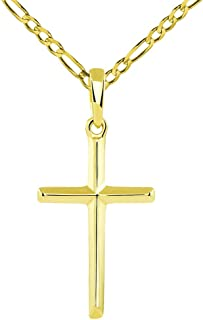 14K Solid Yellow Gold Traditional Simple Religious Cross Pendant with Figaro Chain Necklace