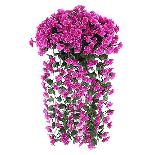ZHURGN Flores Colgantes de Violeta Artificial, Cesta de la glicinia de Pared, Flores de Hiedra Violeta Artificial, Canasta Colgante de Seda, Guirnalda, para el hogar, jardín de Boda/Patio, decoració