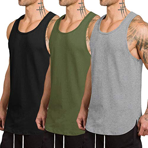 COOFANDY Men s 3 Pack Quick Dry Workout Tank Top Gym Muscle Tee Fitness Bodybuilding Sleeveless T Shirt (Black Gray Army Green(pattern3), XX-Large)