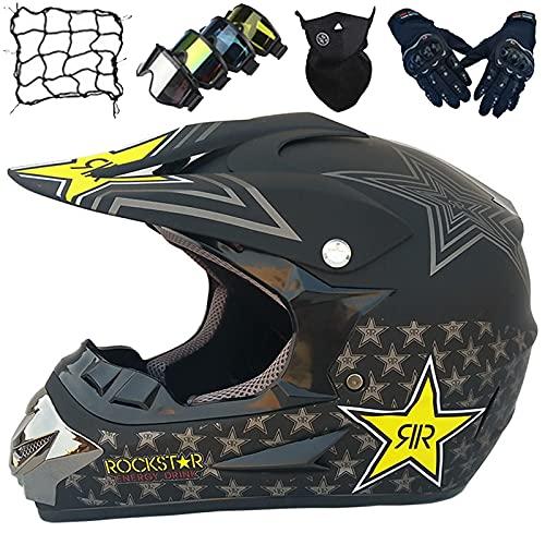 Casco Motocross Niños, Casco Motocicleta Adultos con Gafas/Guantes/Máscara/Red Elástica, Casco Protección Unisex 4 Estaciones para Off Road Enduro Downhill ATV MTB BMX - Black Star