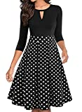 ihot Femme Robe Cocktail Col Rond Manches 3/4 Floral Rockabilly Vintage Retro avec Poches,Black White Dot,M