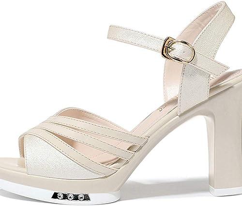 WYYY zapatos Las Sandalias Tacones Elegantes Y Los zapatos Cómodos con Hebillas. (Color   oro, Tamaño   EU 35 UK 3.5 CN 35)