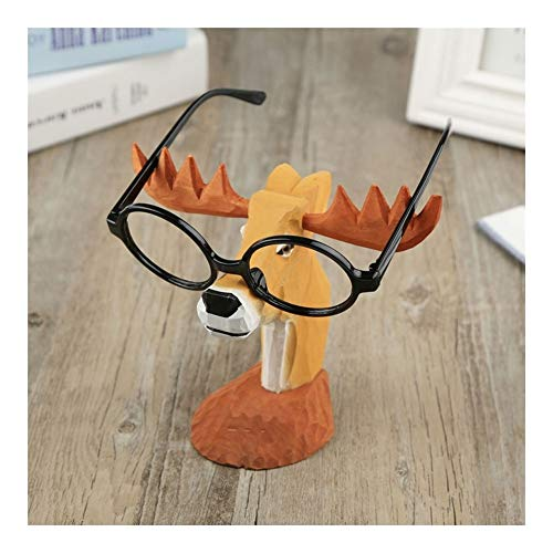JCCOZ-URG Elk Glasses Stand Holder Spectacle Display Stand Sunglasses Eyeglass Holder Creative Reading Glasses Holder for Men Women Home Office Decoration Car Ornament(Wooden) URG