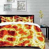ropa de cama - Juego de funda nórdica, juego de naranja quemada, textura de lava ardiente caliente con imagen de magma volcánica calentada con llamas de fuego, juego de funda nórdica de microfibra con