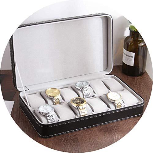 Caja de reloj de cuero de la PU caja de reloj for caballeros Relojes Negro Vitrina joyería de tiendas de regalo Ver Cajas de almacenamiento, de los ornamentos ( Color : Black , Size : 33*20*7.5 cm )