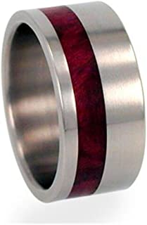 Interchangeable Redwood Inlay 10mm Comfort Fit Brushed Titanium Ring