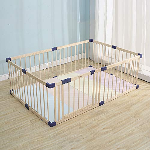 """Wooden Kids Play Fence with Door,Playpen, Baby Safety Play Center Yard Safe Play Area Indoor Foldable Kids Safety Activity Center Playard w/Locking Gate (Natural Wood, 59.05""""x 70.86"""")"""