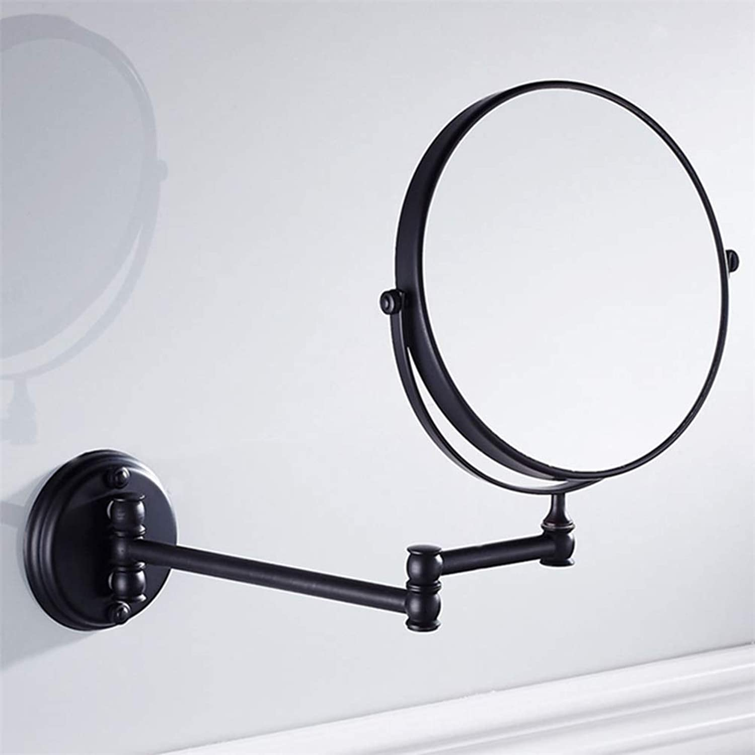 LUDSUY 8-Inch Two-Sided Swivel Wall Mount Makeup Mirror with 3X Magnification Oil Rubbed Bronze Solid Brass Bathroom Accessories