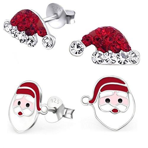 2 Paar Set Kristall Nikolausmütze Weihnachtsmann Ohrringe für Mädchen 925 Echt Silber Ohrstecker Kinder