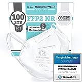 BEMS MEISTERWERK FFP2 Maske VERGLEICHSSIEGER 2021 (100 Stk) CE zertifiziertEN149:2001+A1:2009- Inkl. Clips für höchsten Tragekomfort - 5-lagige Premium Atemschutzmaske FFP2 für maximale Sicherheit
