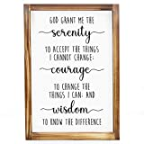 MAINEVENT Serenity Prayer Wall Decor Sign - Bible Verse Wall Art, Rustic Farmhouse Decor for The Home, Modern Farmhouse Decor, Christian Decor, Religious Wall Decor with Solid Wood Frame 11x16 Inch