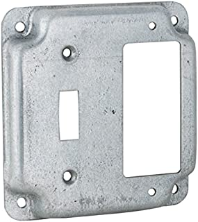 Hubbell-Raco 814C 1 Toggle and 1 GFCI 4-Inch Square Exposed Work Cover