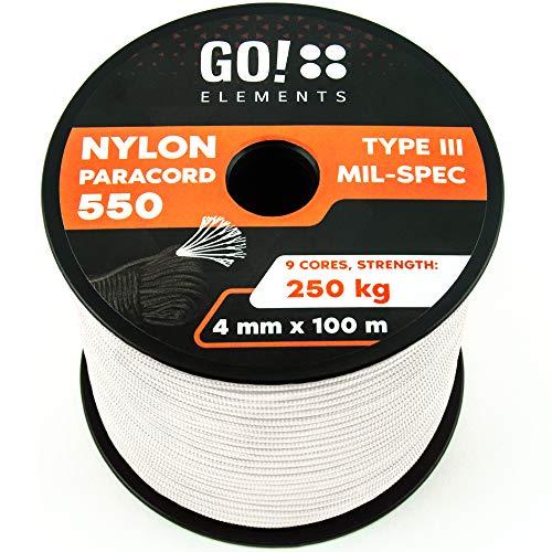 GO!elements 100m Paracord de Nylon a Prueba de desgarros - 4mm Paracord 550 Typo III Cuerda - Adecuado como Cuerda Yute & Cuerda Gruesa | MAX. 250kg, Color:Blanco