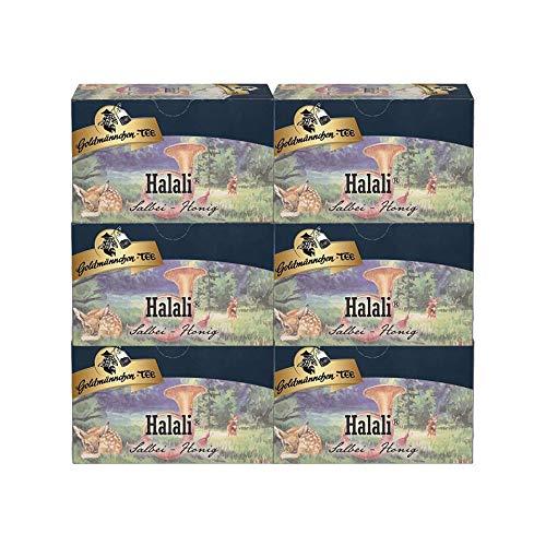 Goldmännchen Halali, Salbei Honig, Kräuter-Früchtetee, Kräutertee, Früchte Tee, mit natürlichem Aroma, 20 Teebeutel, X04261, 6er Pack