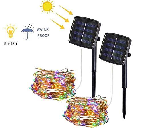 Solarbetriebene Lichtbänder 10M 100 LED 2 Modi Wasserdichte Lichterketten Coloful für den Innenbereich für Party, Garten, Weihnachten, Halloween, Hochzeiten, Patio, Tor, Innenhof