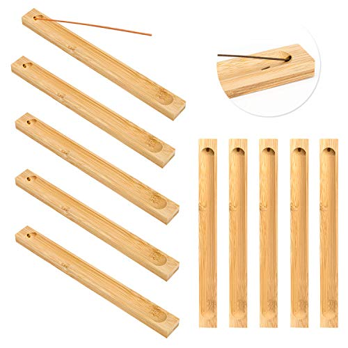 Bamboo Wood Incense Sticks Holder, Incense Burner Ash Catcher, Wooden Incense Tray for Sticks 9', Aromatherapy Ornament for Home Fragrance Décor (Wood Color) (10)