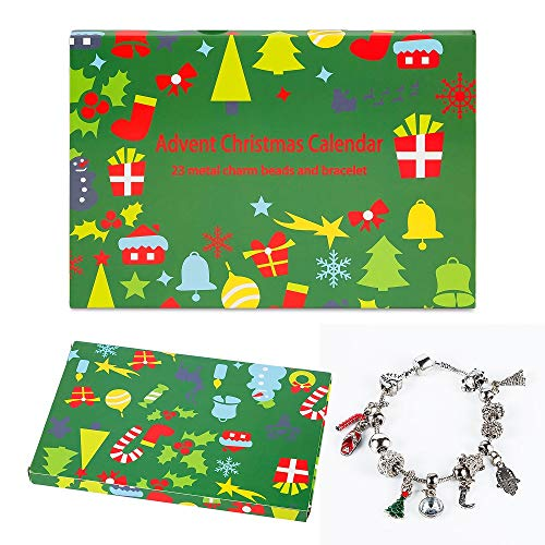 Mouttop Advent Calendar Made with DIY Beads Charms Bracelet for Kids Christmas Jewelry Box, 8.5