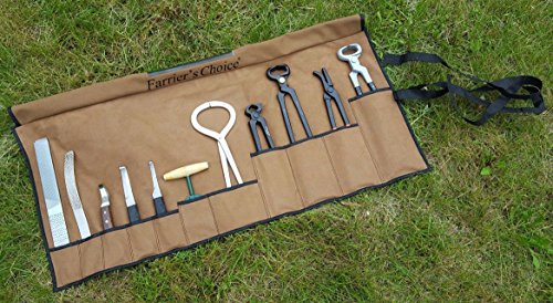 Equipment Essentials 11 Piece Farrier's Tool Kit Set Horse Hoof Nippers Clincher Tester Knife Rasp Chisel + Fold Up Case
