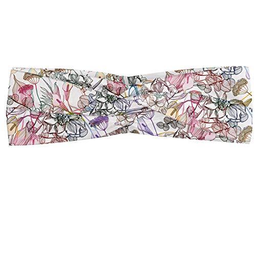 ABAKUHAUS Floral Bandeau, Hand Drawn style Fleurs Fleurs et feuilles printemps romantique Fantaisie Parchemin, Serre-tête Féminin Élastique et Doux pour Sport et pour Usage Quotidien, Multicolore