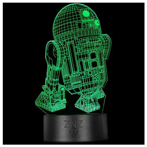 3D Star Wars Lampe, ZNZ LED Illusion Led Nachtlicht, 16 Farben Wechsel 3 Modell mit Remote & Smart Touch Dekor Lampe - Weihnachts- Star Wars Fans Geschenke für Kinder Männer Frauen (R2D2)