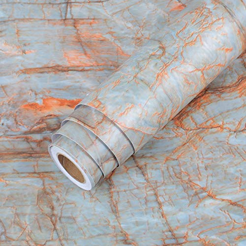 LaCheery Large Size 160 x 36 Inch Cyan Blue Marble Contact Paper for Countertops Waterproof Cyan Blue Marble Countertop Contact Paper Self Adhesive Wallpaper Peel and Stick Roll for Kitchen Island