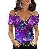Camiseta con Cremallera con Cuello en V y Hombros Descubiertos con Estampado gráfico para Mujer Camiseta con Cierre Escotado Sexy Blusa con Correas de Cadena de Manga Corta cómoda y Suelta