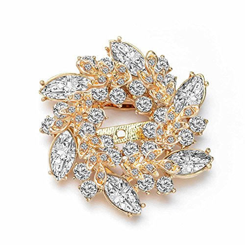 Wonvin Collection Flower Crystal Brooch Pins Buckle for Sweater Scarf Coat 18K Gold Plated Vintage Christmas Brooches for Women (White)