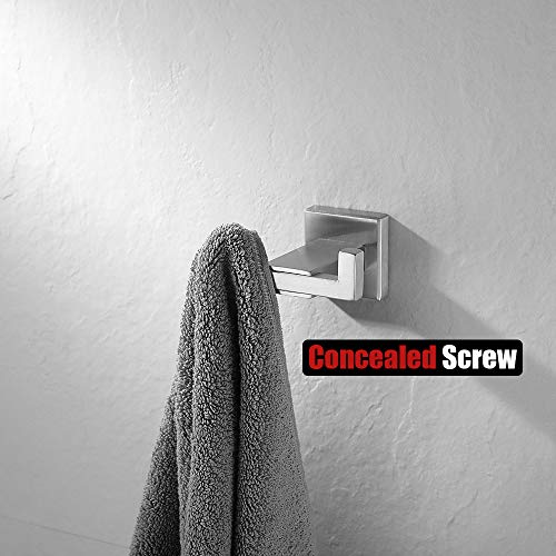 JQK Towel Hook, SUS 304 Stainless Steel Coat/Robe Clothes Hook for Bath Kitchen Garage Wall Mounted, Brushed Finish…