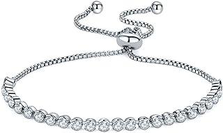 Adjustable Bracelets for Women, White Gold Plated Cubic Zirconia CZ Tennis Bracelet, Mother's Day Birthday Christmas Jewel...