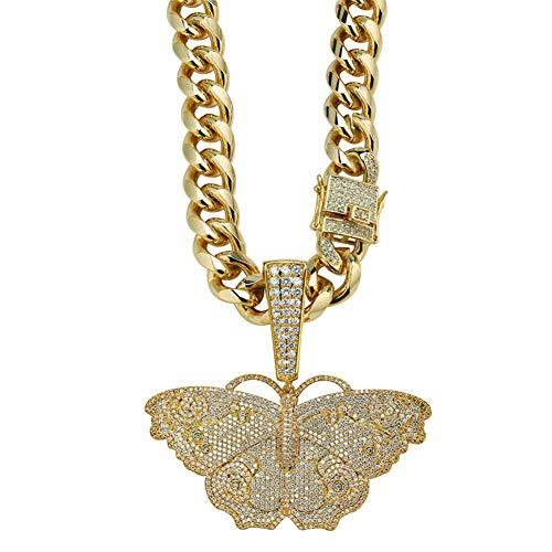 LILIMO Hip-Hop-Splitter Gold-Schmetterling Halskette Mikro Pflastern Zircon Gefror Heraus Tier Schmuck Mann-Frauen-Geschenk,Gold