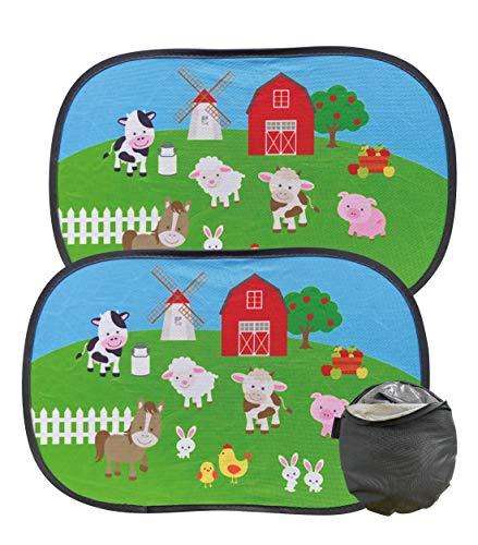 HECKBO Parasol Autoadhesivo para Coche - protección Solar para niños (2 Piezas)   Granja con animales   48x31cm   protección solar para ventanillas de coche   con Bolsa Incl