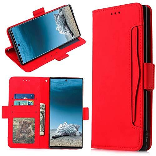 KRjcsfhy Para Doogee N40 Pro Funda de cuero premium a prueba de golpes cartera diseño de libro cierre magnético Flip Folio soporte protección cubierta compatible con Doogee N40 Pro teléfono caso rojo