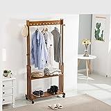HUISHUAI Perchas de bambú Nan, Perchero de Madera sólida del Piso, Bastidores Simples Multicapa Modernos, Bastidores Multiusos de Dormitorio, 60cm