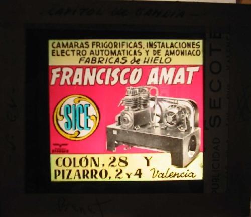Antigua PUBLICIDAD EN CRISTAL PARA CINES : Fábricas de Hielo, Cámaras frigoríficas....