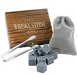 GOURMEO 9 Whisky Steine im Set aus natürlichem Basalt mit einer Edelstahl Zange - Eiswürfel wiederverwendbar - Whiskysteine - ideales Zubehör für Whiskey Geschenk