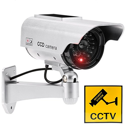 Justop - Cámara de vigilancia para exteriores e interiores, resistente al agua, con luz LED solar o funciona con pilas, color plateado