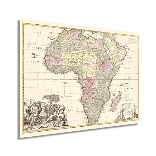 HISTORIX Vintage 1725 Africa Map - 18x24 Inch Vintage Map of Africa Poster - Old Poster of Africa Wall Art - Vintage Africa Map - Shows Boundaries Rivers Forests and Settlements (2 Sizes)