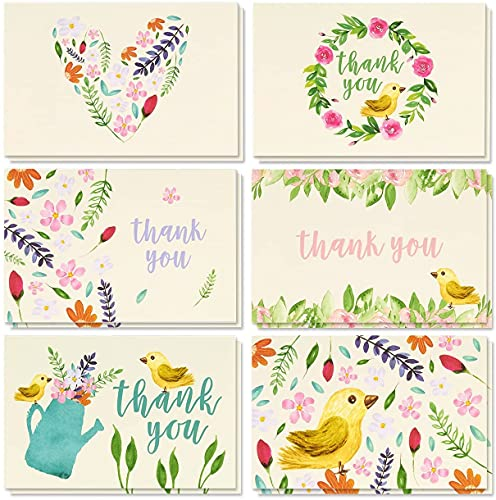 Thank You Cards - 48-Count Thank You Notes, Bulk Thank You Cards Set - Blank on the Inside, Vintage Garden Watercolor Floral Flower Bird Designs – Includes Thank You Cards and Envelopes, 4 x 6 Inches
