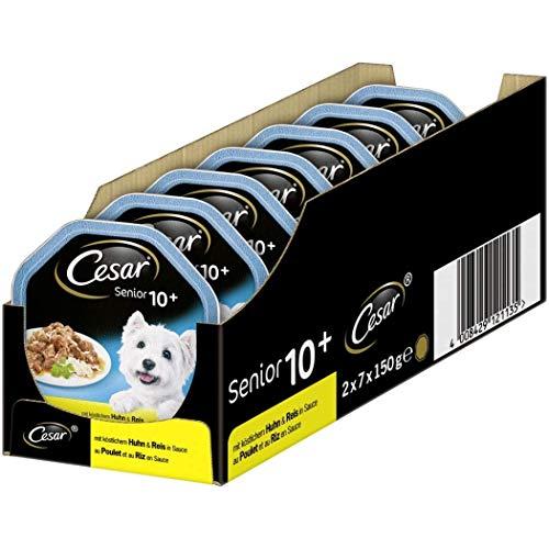 Cesar Hundefutter Nassfutter Senior für ältere Hunde +10 Jahre mit Huhn & Reis in Sauce, 14 Schalen (14 x 150g), 2100 g