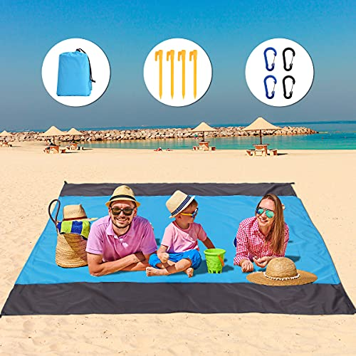 AceLife Picknickdecke Stranddecke 210 x 200 cm, wasserdichte Sandabweisende Campingdecke mit 4 Befestigung Ecken und 4 Clips, Ultraleicht kompakt flatbar und sandabweisend