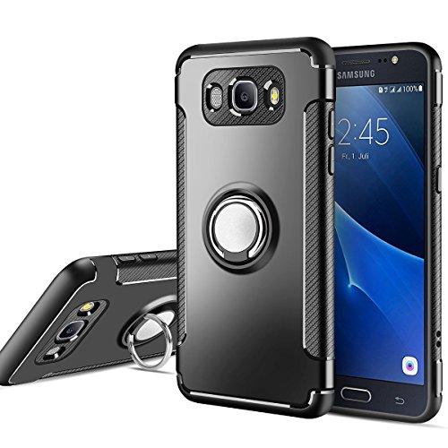 MaiJin Funda para Samsung Galaxy J5 2016 SM-J510F (5,2 Pulgadas) Multifunción Anillo sostenedor movil de 360 Grados con función de Soporte Rugged Armor Cover Case (Negro)