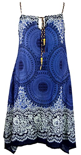 GURU-SHOP, Vestido Boho Mandala Midi, Vestido de Tirantes, Vestido de Playa para Mujeres Fuertes, índigo, Sintético, Tamaño:38, Vestidos Largos Midi