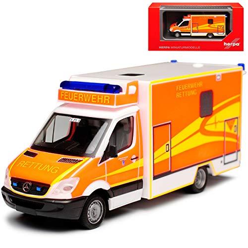 Mercedes-Benz Sprinter II Transporter Kastenaufsatz Feuerwehr Rettung Krankenwagen H0 1/87 Herpa Modell Auto mit individiuellem Wunschkennzeichen