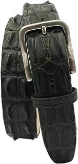 ESPERANTO Cintura Coccodrillo unisex uomo donna 4 cm fodera in Nabuk - Colore : Verde Militare