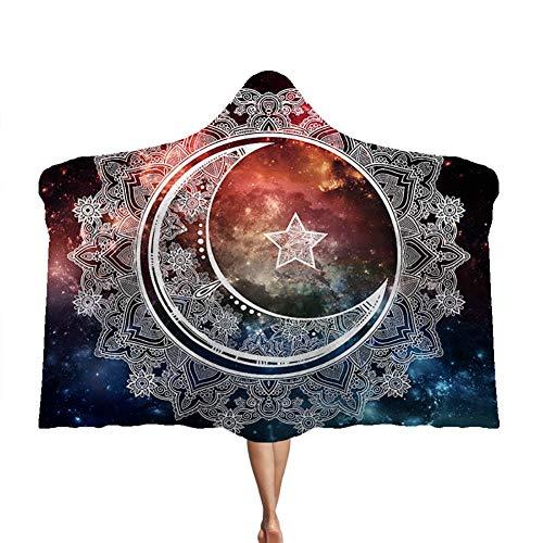 Manta con capucha Mandala, manta de felpa de doble capa para niños, manta de siesta de terciopelo ártico, suave y cálida,F,130 * 150cm