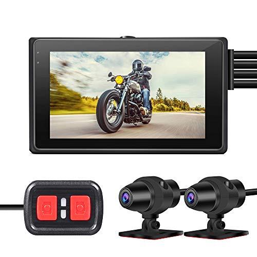VSYSTO Motocicleta Dash CAM Cámara de la Motocicleta Lente Dual 1080P Cámara Delantera y Trasera Pantalla LCD de 3.0 \'\' Cámara Deportiva Gran Angular de 150 ° con WiFi