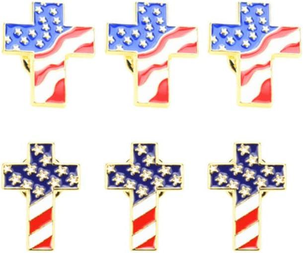 TENDYCOCO American Flag Lapel Pins Stars and Straps Patriotic Cross Badges 6pcs