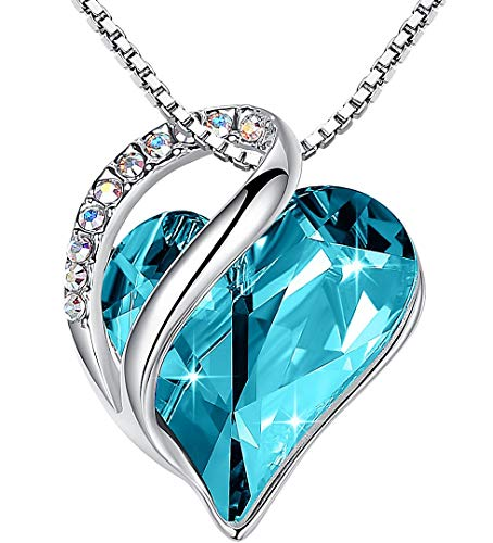 """Leafael Infinity Love Heart Pendant Necklace with Turquoise Aquamarine Blue Birthstone Crystal for December, Healing Stone for Calmness, Jewelry Gifts for Women, Silver-Tone, 18""""+2"""""""