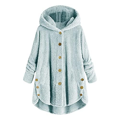 Tekaopuer Sudadera con capucha para mujer, con capucha bordada, con bolsillo Kanga, para mujer, A04-azul cielo, 4XL