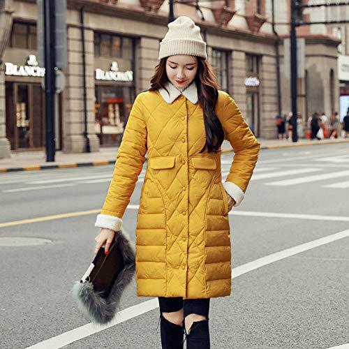 WJINNSH mantel, met knoopsluiting, winterjas, voor dames, lange mouwen, gevoerd, parka voor herfst, geel, M